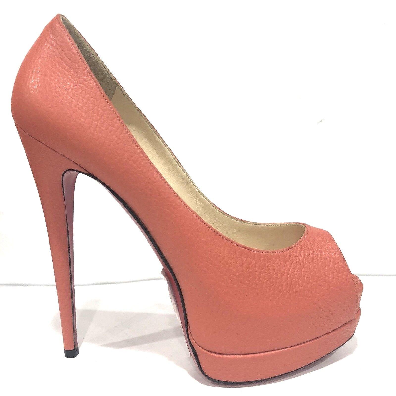 Christian Christian Christian Louboutin Palais Royal Naranja Bomba de Cuero zapatos talla 37.5 US 6.6  mejor vendido