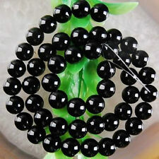 8mm Black Agate Onyx Round Loose Beads Gemstone 15""