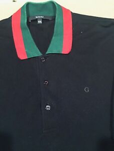 3b5a66c8ec4 RARE GREAT  480!!! Gucci Polo wed piquet GG Black Red Green XXL 100 ...
