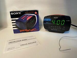 Sony-Psyc-Dream-Machine-FM-AM-Clock-Radio-Vintage-ICF-C111-Navy-Alarm