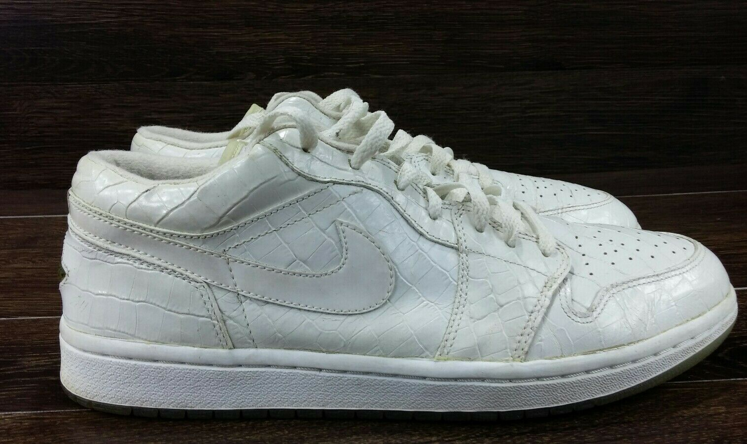 Nike Air Jordan I 1 Retro Low White White-Crocodile RARE 309192-103 Mens SZ 11