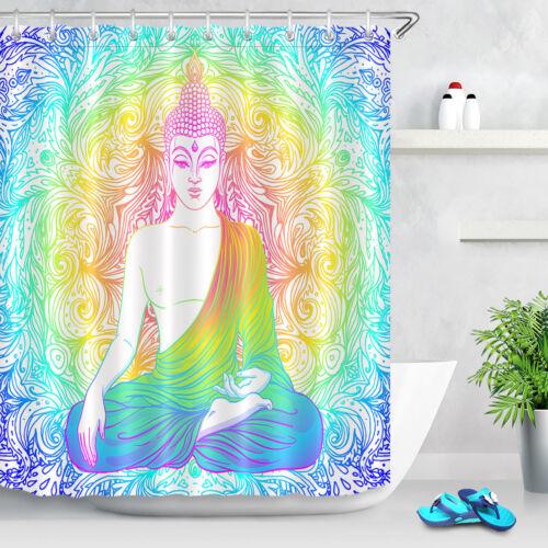 "ASSIS bouddha mandala Tissu rideau de douche Set étanche 71/"" polyester transparent"