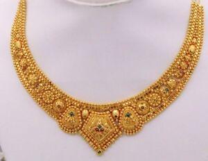 Filigree Work Indian Bridal Design 22k Yellow Gold Wedding Necklace Tribal Set58 Ebay