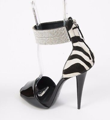NEW Giuseppe ZANOTTI Heels Shoes Swarovski Crystal Zebra Sandals Size 36.5 6.5