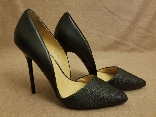 New L.A.M.B. Women D'Orsay Black Avocado Leather Stiletto High Heels Size 8 M