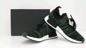 adidas-Mens-Shoes-10-5-NMD-R1-STLT-PK-Black-Green-Primeknit-ORIGINALS-AQ0936