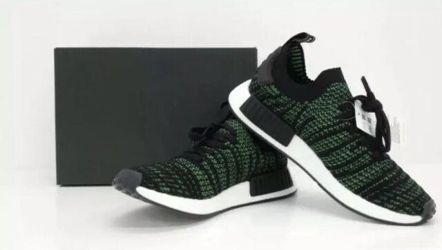 New adidas Mens Shoes  11  NMD_R1 STLT PK Black/Green Primeknit ORIGINALS AQ0936