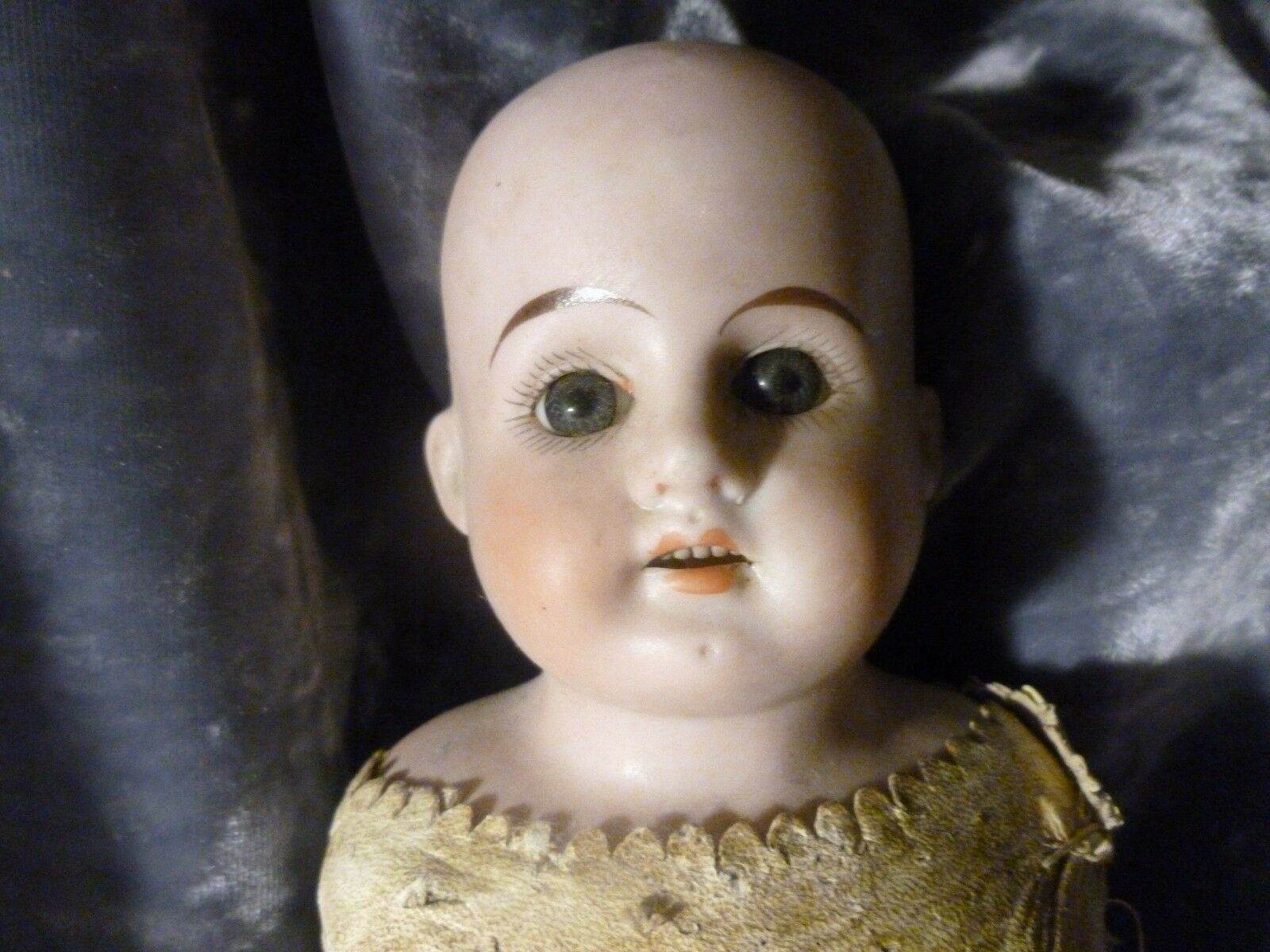 ANTIQUE GERMAN WIEFEL & COMPANY BISQUE DOLL WITH OPEN MOUTH ALL ORIGINAL NO HAIR