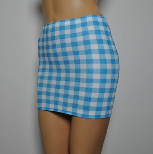 MINI SKIRT Gingham WHITE BLUE Check Lycra Stretch Club BODYCON Womens Party H26