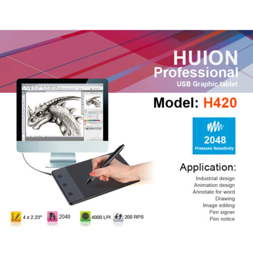 """HUION H420 4/"""" USB Art Design Graphics Drawing Tablet Board With Touch Pen"""