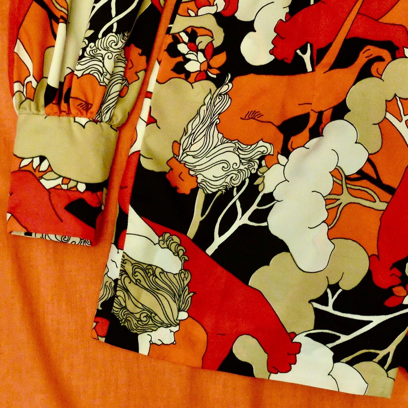 Vintage 60s 70s Handmade Psychedelic Lion Print R… - image 6