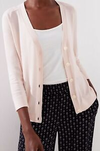 Ann-Taylor-LOFT-3-4-Sleeve-Signature-V-Neck-Cardigan-Size-Large-NWT-Rosebud-Pink