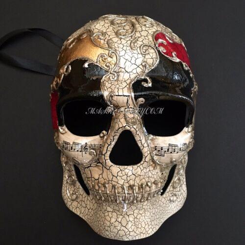 Hand-Painted Venetian Skull Black Eye Accent Halloween Mask
