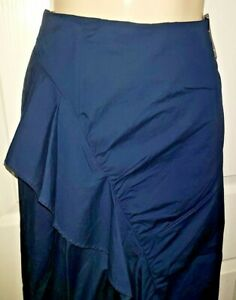 LADIES-M-amp-S-RUCHED-FRILL-FRONT-NAVY-ASYMMETRIC-MIDI-SKIRT-SIZE-18-20-BNWT