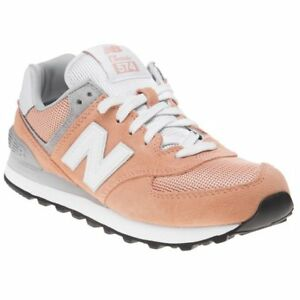 buy popular a5c92 4c6fa Image is loading New-WOMENS-NEW-BALANCE-ORANGE-574-SUEDE-Sneakers-