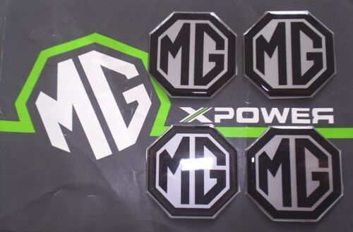 MGZT MG ZT MGZT-T Alloy wheel centre badge inserts 4 off Black on Silver