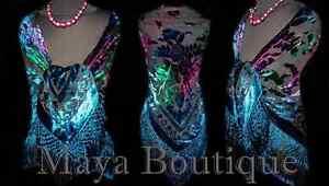 MAYA-MATAZARO-Burnout-Velvet-Piano-Shawl-Wrap-Scarf-Tye-Dye-Navy
