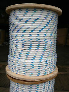 "NovaTech XLE Halyard Sheet Line, Dacron Sailboat Rope 5/16"" x 50' White/Blue"