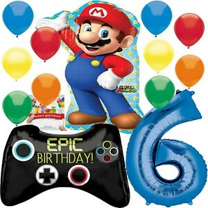 Super-Mario-Party-Supplies-Balloon-Bouquet-Decoration-Bundle-for-6th-Birthday