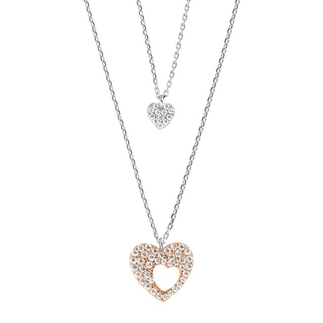 Mother & Daughter Heart Pendants with Cubic Zirconia 18K Rose Gold-Plated Silver