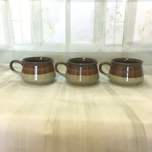 Vintage-Pottery-brown-glazed-3-X-soup-mugs