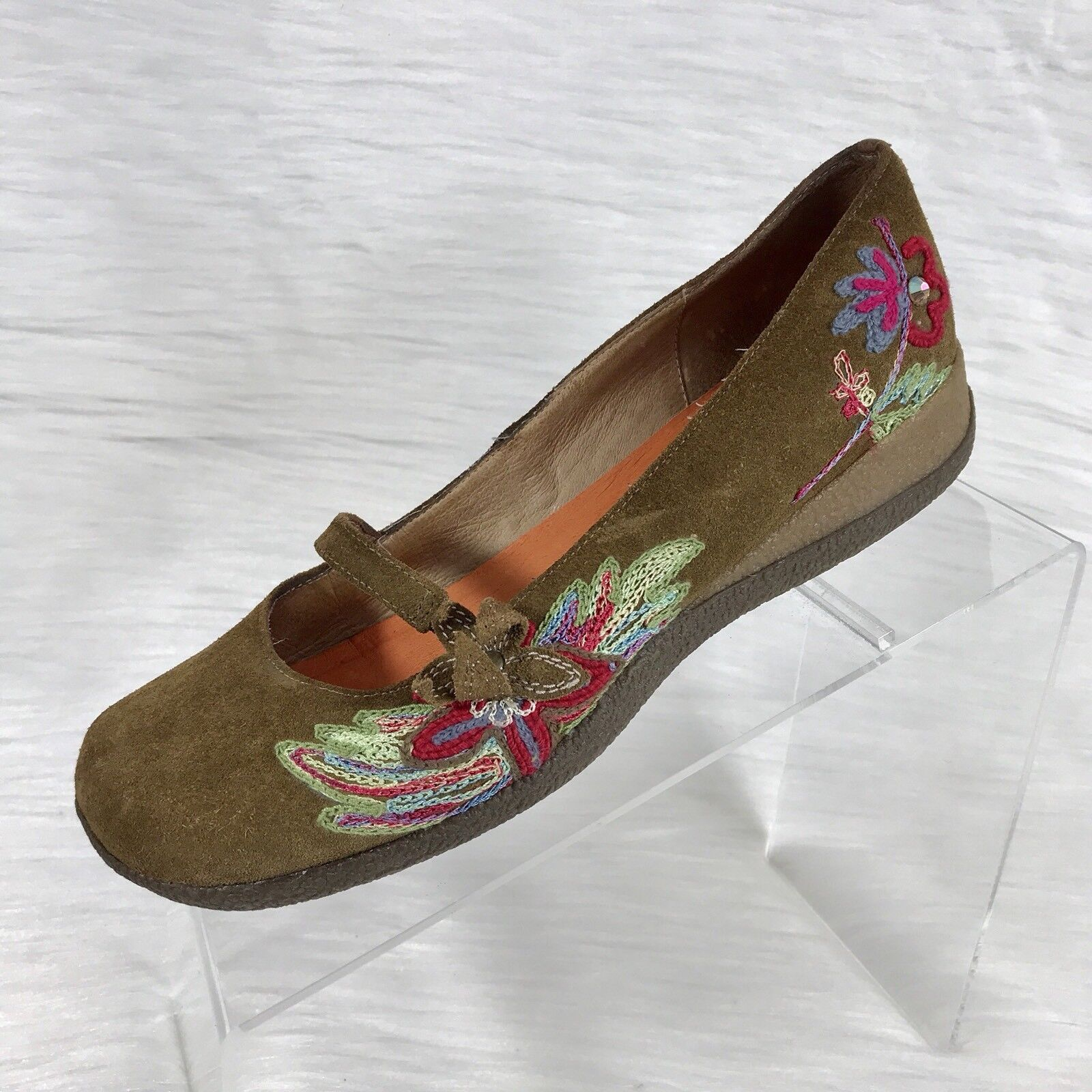 Cafe Noir Donna Mary Jane Shoes Brown Suede 7.5 Floral Size 38 US 7.5 Suede addf5a