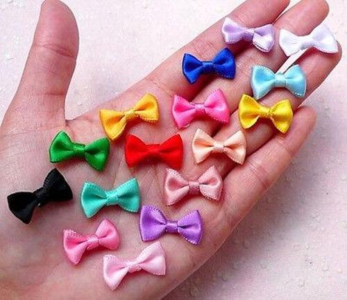 50pcs Mini Fabric Ribbon Bow Tie//Tiny Satin Bows 35mm Mix Hair Accessory