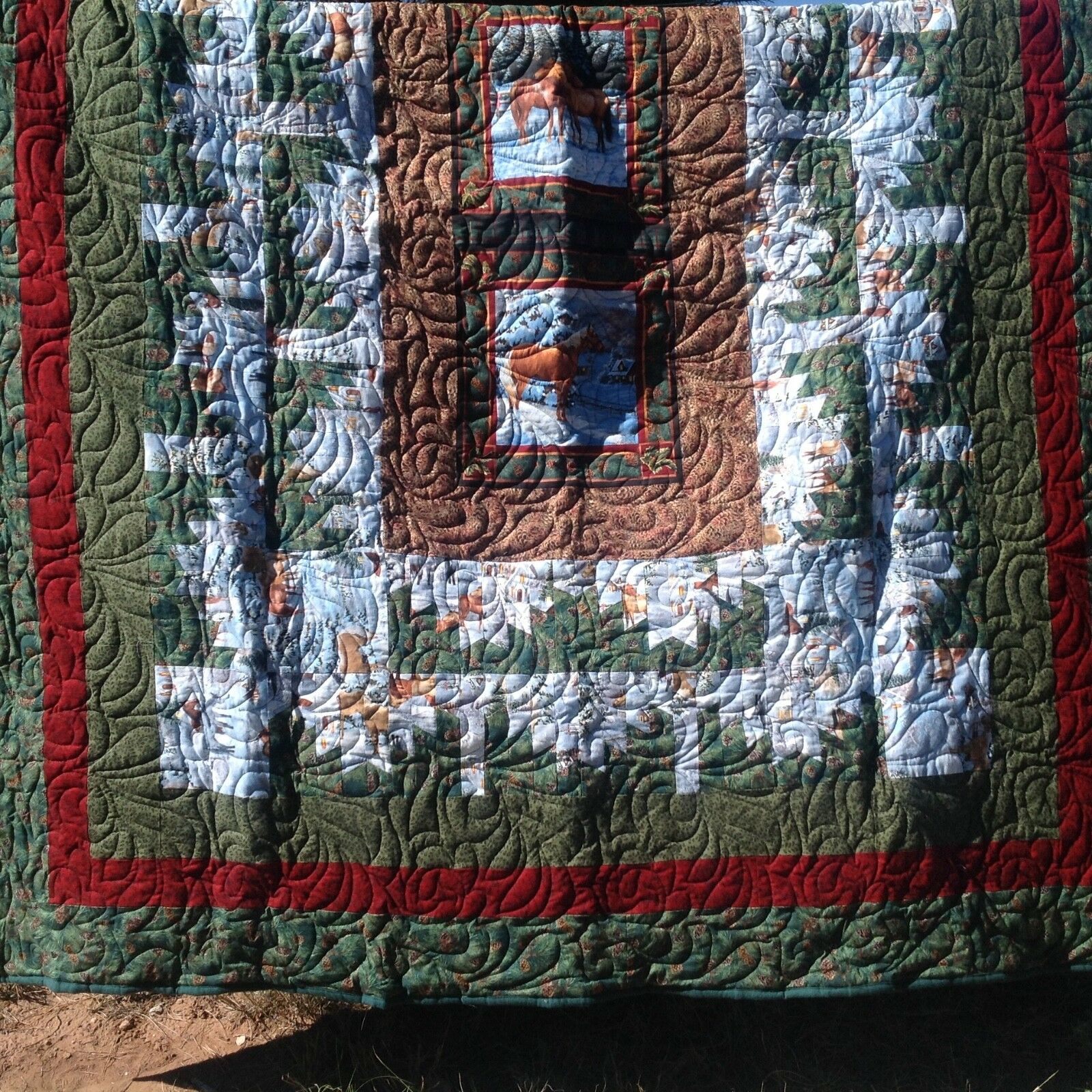 Cheval Hiver Cowboy Cowfille Holiday Flanelle couette pleine reine Taille 80 X 96