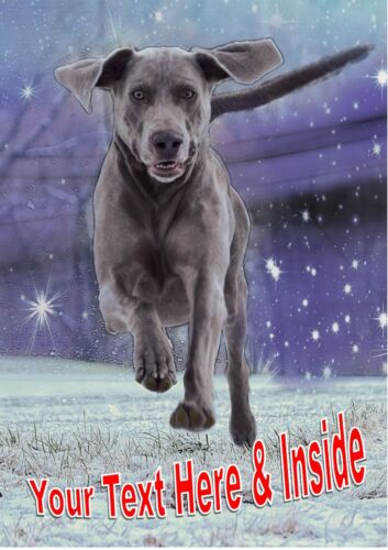 FUN WEIMARANER CHRISTMAS CARD Personalised /& Illustrated inside /& out  Glossy A5