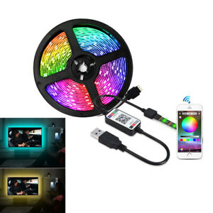USB TV Backlight RGB LED Strip Light Kit Color Changing Battery Powered 50-500CM