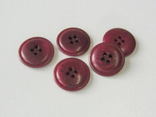 5 edle diskusförmige Steinnussknöpfe mit 4 Knopflöchern in Dunkelrot 3842ro