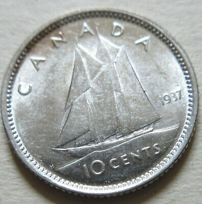 Extra Fine 1937 Canada Silver 10 Cents