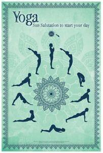 yoga  sun salutation poster 61x91cm new  start your day