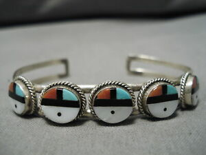 MARVELOUS-VINTAGE-NAVAJO-TURQUOISE-CORAL-STERLING-SILVER-BRACELET-CUFF