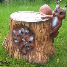 4 EICHHÖRNCHEN am BAUMSTAMM Garten Deko Tier Figur CHIPMUNKS HERBST Dekoration