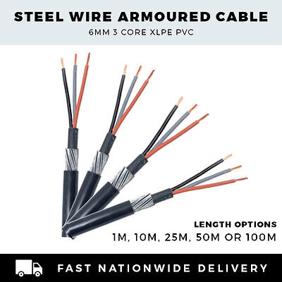 25m 25 Metre x 1.5mm 3 Core Steel Wire Armoured Cable XLPE SWA 6943X