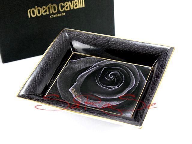 Roberto Cavalli cendrier Coque Dark Lady Limoges porcelaine noir or NEUF