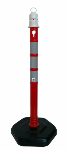 Kettenpfosten Ø63mm Kunststoff 1 Meter 3,2kg Fuss 3 Reflektoren