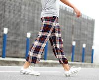 Zara Silk Checked Print Cropped Trousers Size Medium