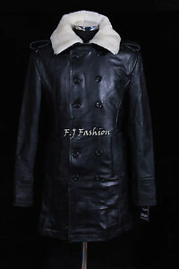 Men/'s German Black Naval Military Analine Cowhide Real Leather Jacket//Coat