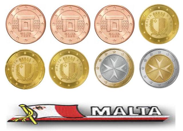 Full set of MALTA  Euro coins 2008
