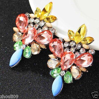 New Fashion Women Elegant Crystal Rhinestone Ear Stud silver dangle Earrings 436