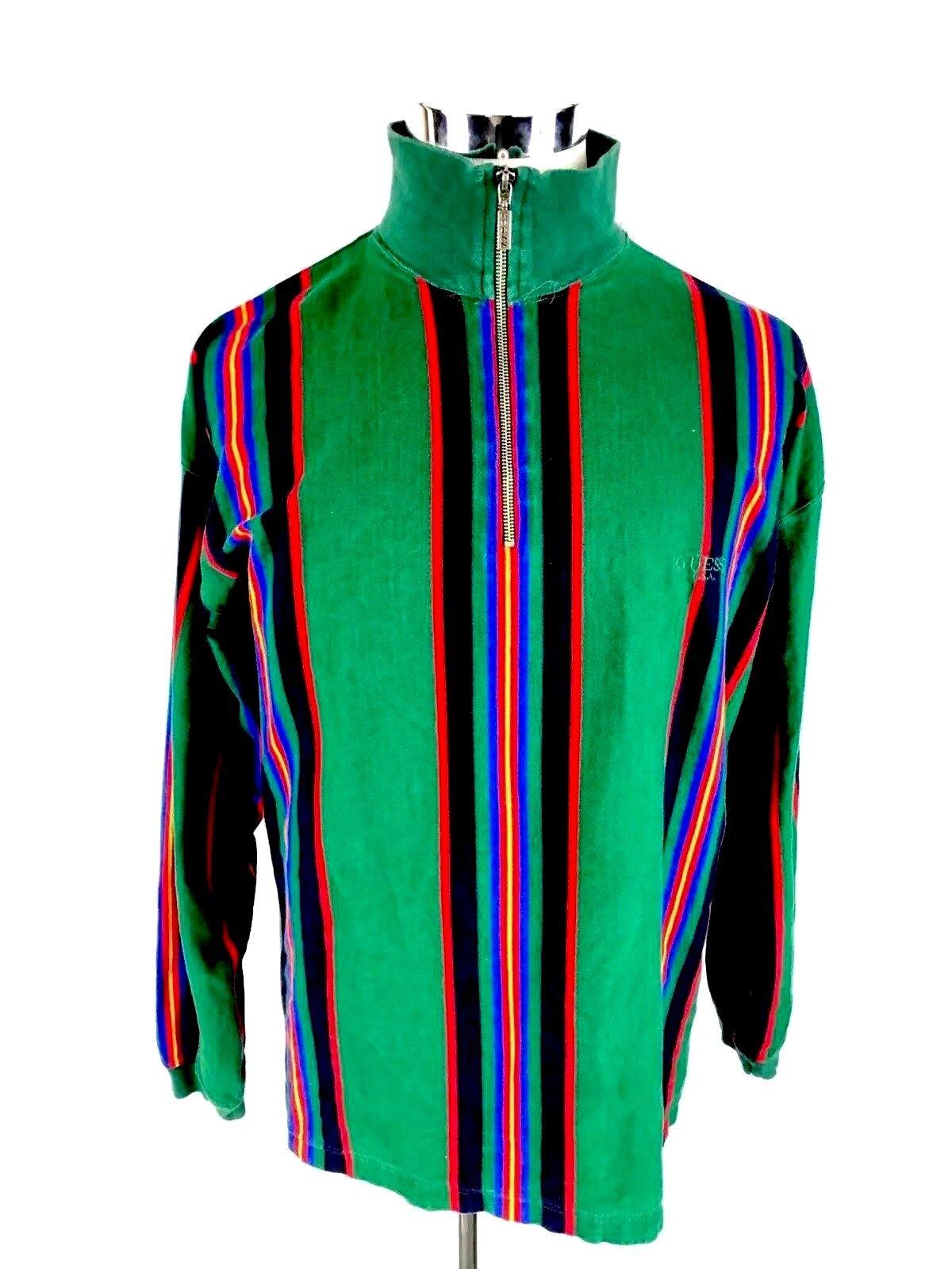 Guess Georges Marciano  Herren Pullover 1/2 Zip Sweatshirt L Large 80's Grün Rare