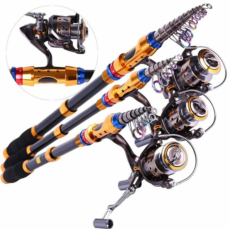 SPINNING CANNA DA PESCA TELESCOPICA Set e Carpa Pesca Con Mulinello 1.8m3.6m CARBON Fishi