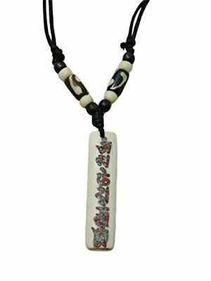 "12pcs Tibetan Ethnic Yak Bone Sculpture /""Om Mani Padme Hum/"" Pendant Necklace"