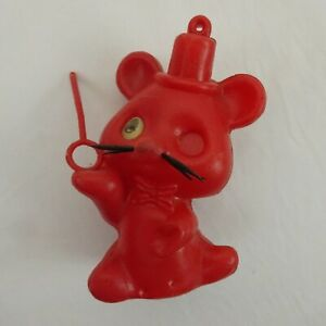 """Vintage 3.5"""" Red Plastic Toy Mouse with Lenticular Eye made in Hong Kong"""