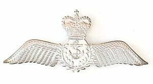 Royal Navy Pilot Wing Military Sweetheart Siver Finished Pin Badge MOD Approved