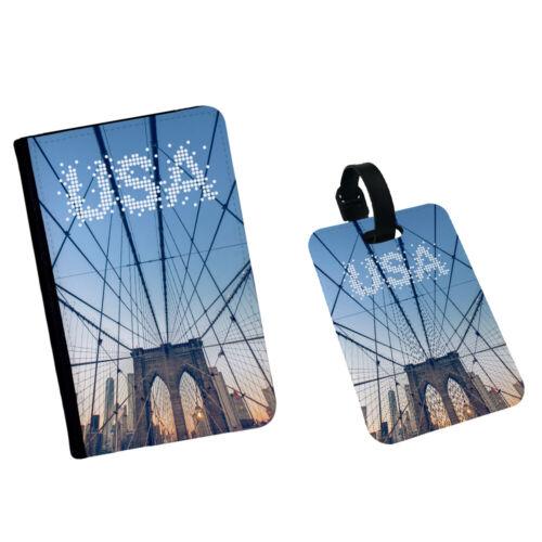 United States America USA New York Bridge Travel Passport Flip Cover Case