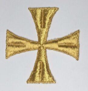Vintage-Cruz-Bordado-para-Coser-3-034-Maltes-Emblema-Parche-2PC-Oro-B