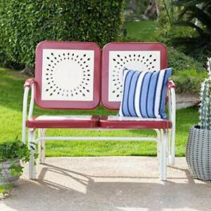 Fine Details About Retro Vintage Style Red White Metal Patio Glider Bench Sofa Settee Outdoor Bralicious Painted Fabric Chair Ideas Braliciousco